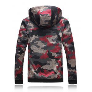 Plus Size Hooded Camouflage Zip Up Jacket - RED 5XL