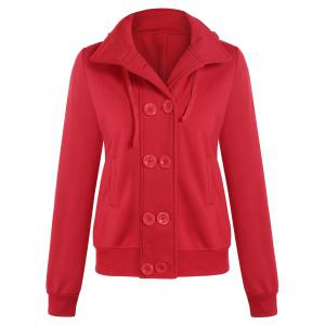 Hooded Long Sleeve Peacoat - Red - L