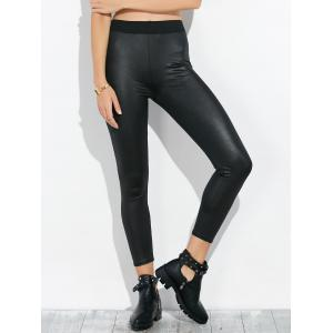 High Waist Faux Leather Footless Leggings - Black - One Size