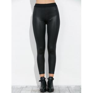High Waist Faux Leather Footless Leggings -