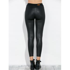High Waist Faux Leather Footless Leggings - BLACK ONE SIZE
