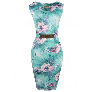 Keyhole Sleeveless Floral Bodycon Dress