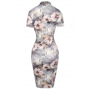 Knee Length Print Qipao Bodycon Dress - LIGHT GRAY M