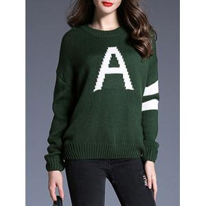Striped and A Pattern Knit Loose Sweater - BLACKISH GREEN