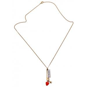 Rhinestone Star Strawberry Sweater Chain - Golden