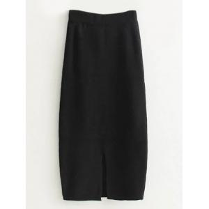 High Waist Midi Sweater Pencil Skirt - Black - One Size