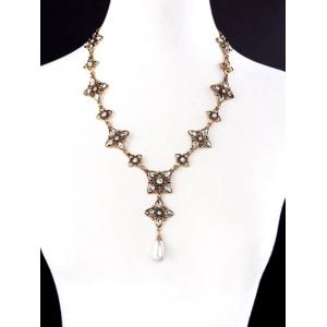 Rhinestone Artificial Pearl Flower Necklace -