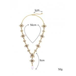 Rhinestone Artificial Pearl Flower Necklace - GOLDEN