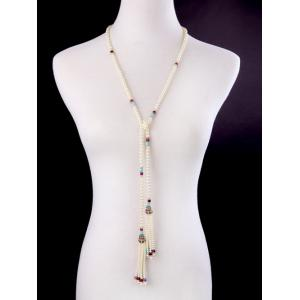 Rhinestone Artificial Pearl Beaded Necklace -