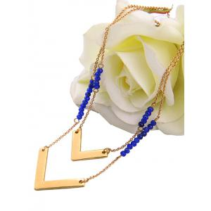 V Shaped Beads Layered Necklace - GOLDEN