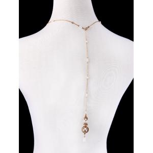 Rhinestone Artificial Pearl Collar Necklace - GOLDEN