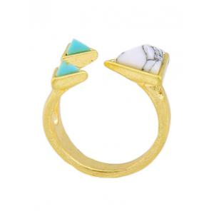 Artificial Turquoise Triangle Cuff Ring - GOLDEN ONE-SIZE