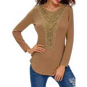Long Sleeve Lace Splicing Crochet Blouse