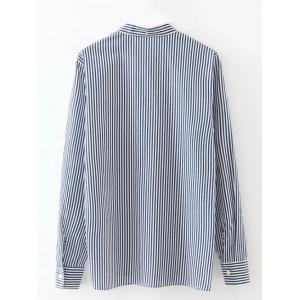 Long Sleeve Formal Striped Embroidered Shirt - BLUE AND WHITE XL
