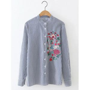 Long Sleeve Formal Striped Embroidered Shirt