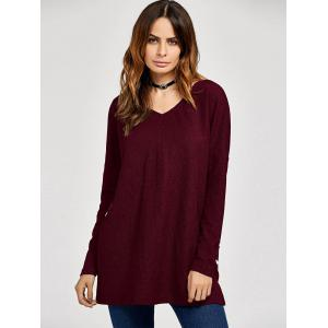 Drop Shoulder Side Slit Tee -