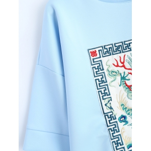 Brodé de Split Sleeve Sweatshirt - Bleu clair M