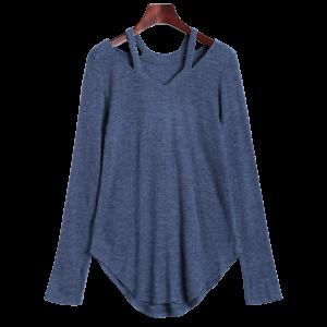 Cut Out V Neck Sweater - Blue Gray - Xl