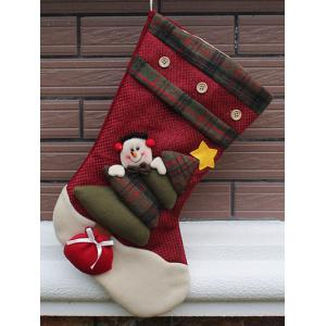 Snowman Hanging Kids Present Sock Christmas Decoration - Red