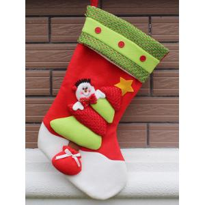 Party Decor Christmas Snowman Hanging Present Bag Sock - Red And Green