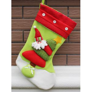 Xmas Tree Decor Santa Hanging Christmas Gift Stocking Bag - Red And Green