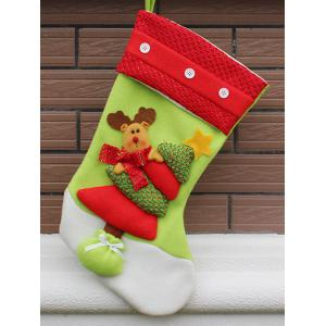 Xmas Tree Decor Hanging Elk Christmas Gift Stocking Bag - Red And Green - S