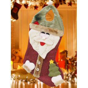 Happy New Year Christmas Santa Hanging Gift Bag Sock - Red And Green - S