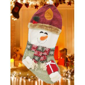 Happy New Year Christmas Snowman Hanging Gift Bag Sock - Red And Green
