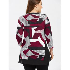 Plus Size Abstract Print High Low Tee - COLORMIX 3XL