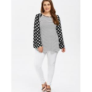 Polka Dot Trim Bell Sleeve Tee - STRIPE XL