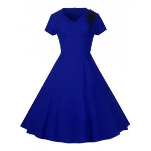 Lace Embroidered Insert 1940S Cocktail Swing Dress - Royal Blue - S