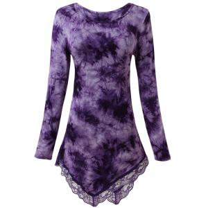 Lace Insert Tie Dyed Asymmetric Top