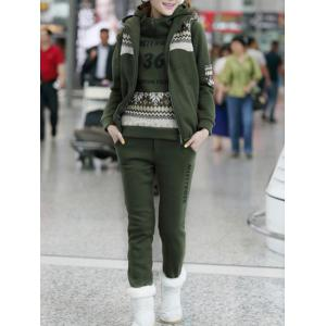 Letter Snow Printed Hoodie and Vest With Track Pants Set - Army Green - 2xl