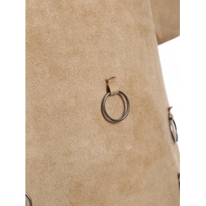 Tassels Faux Suede A-Line Dress - CAMEL XL