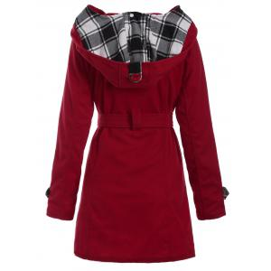 Long Hooded Wool Trench Coat - RED 3XL