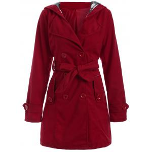 Long Hooded Wool Trench Coat - Red - S