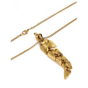 Artificial Pearl Feather Pendant Sweater Chain - GOLDEN