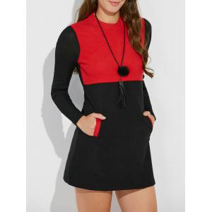 Knit Insert Pocket Mini Dress with Pockets