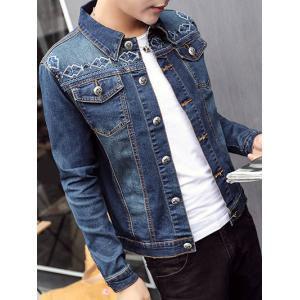 Button Up Pocket Embroidery Denim Jacket
