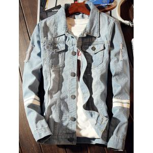 Graphic Printed Varsity Striped Destroyed Denim Jacket