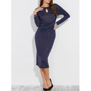 Keyhole Long Sleeve Midi Bodycon Dress