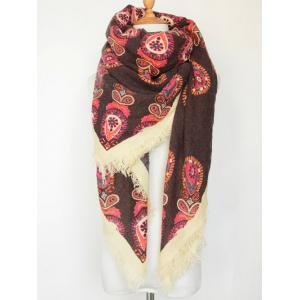 Vintage Floral Pattern Fringe Edge Square Scarf - Coffee
