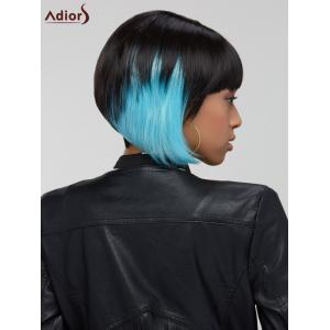 Adiors Hair Short Full Bang Blue Highlights Straight Synthetic Wig