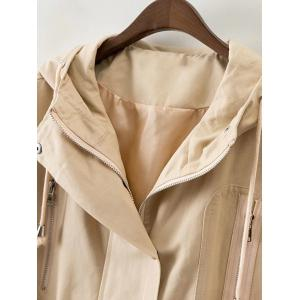 Hooded Sequins Patch Design Trench Coat -