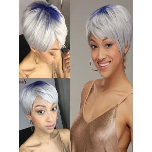 Adiors Hair Short Full Bang Blue Gray Straight Synthetic Wig