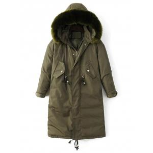 Hooded Zip-Up Drawstring Parka Puffer Coat - Green - M
