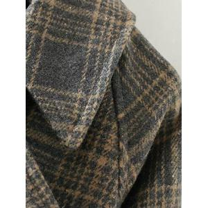 Checked Belted Single Breasted Coat -
