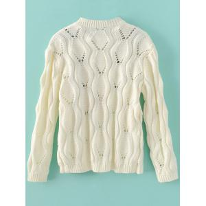 Cut Out Floral Vintage Sweater - WHITE ONE SIZE