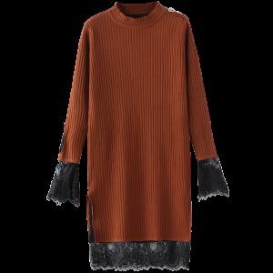 High Neck Cut Out Lace Panel Knitting Jumper Dress
