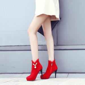 Metal Ruffles Paltform Ankle Boots - RED 39